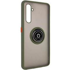 TPU+PC чехол Deen ColorEdgingRing for Magnet для Realme 6 Pro, Оливковый